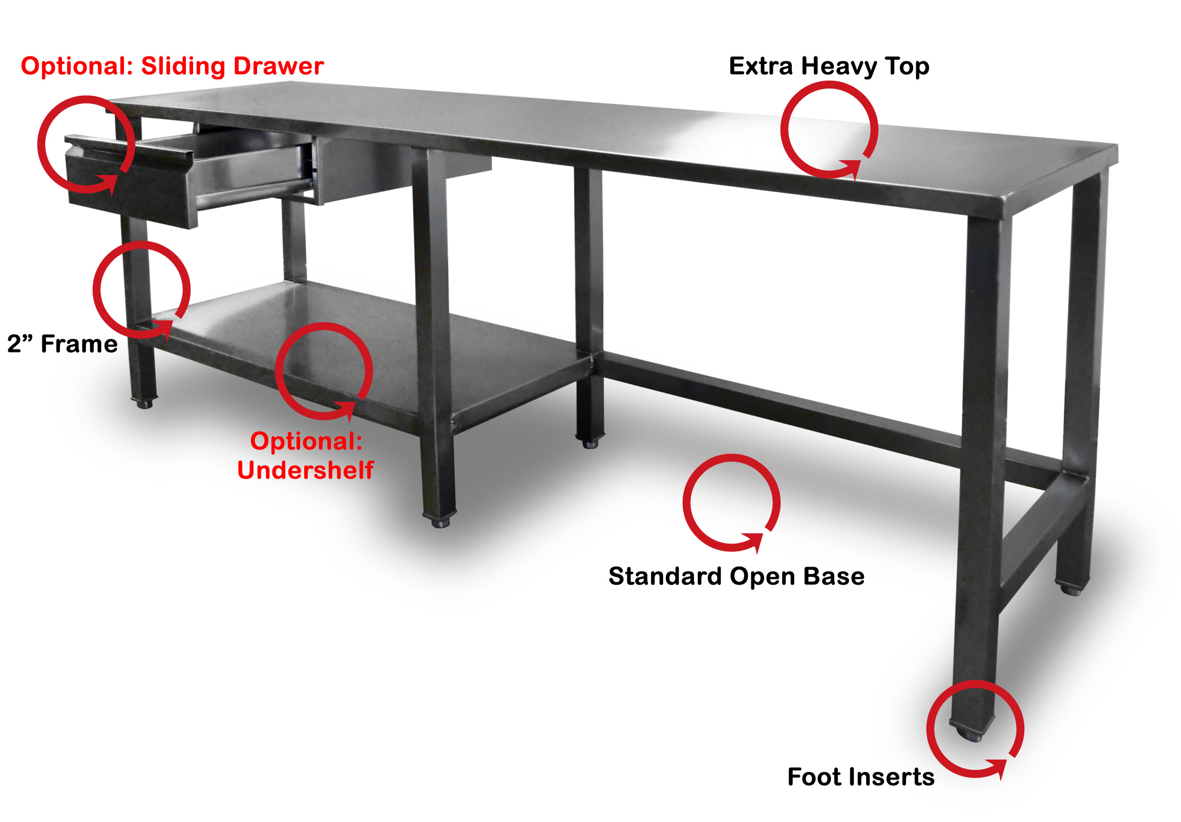 Stainless Steel Top Bakery Work Table - 4 foot stainless steel table
