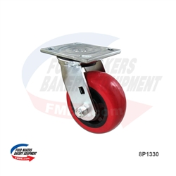 "Heavy Duty Red Swivel Caster. 5"" x 2"". 800 lbs Load capacity."