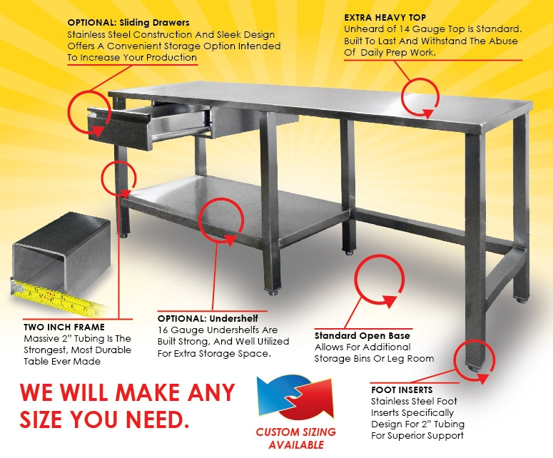Stainless Steel Bakery And Commercial Work Tables - Stainless steel open base work table